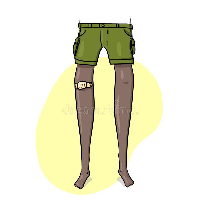 Noga z Medyczną adhezyjnego tynku Ilustracją royalty ilustracja