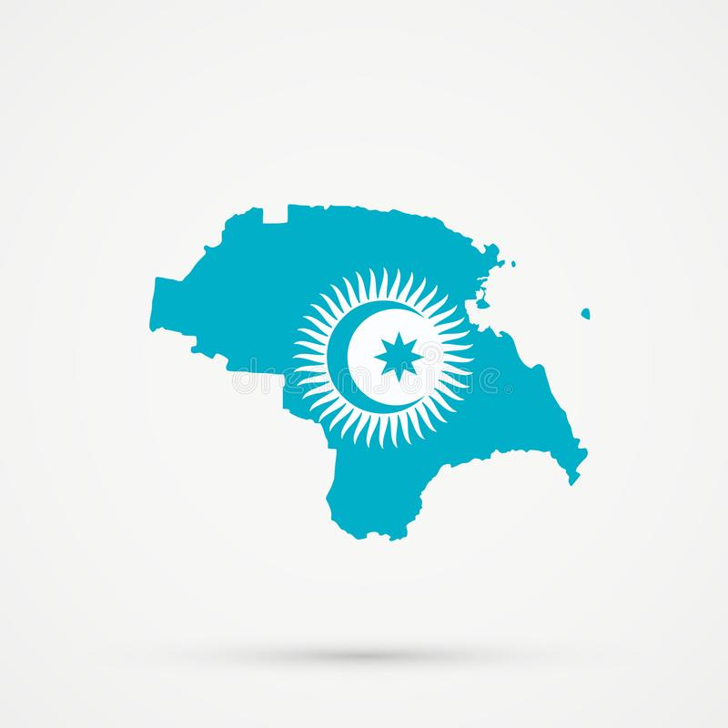 Nogais ethnic territory Russia map in Turkic Council flag colors, editable vector.  vector illustration