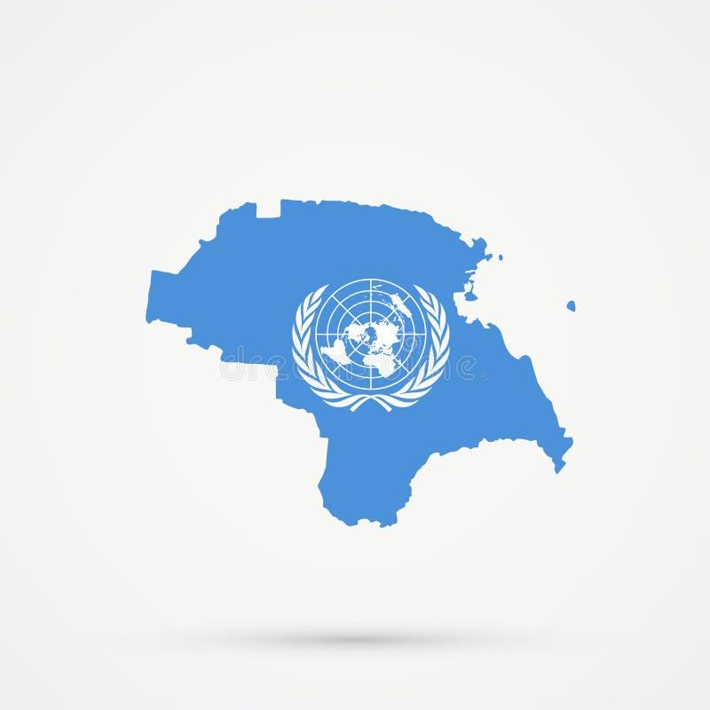 Nogais terytorium Rosja etniczna mapa w Narody Zjednoczone flagi kolorach, editable wektor royalty ilustracja