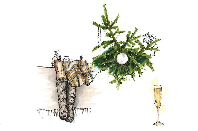 Nogi dziewczyny obsiadanie blisko choinki, nowego roku nakreślenie royalty ilustracja