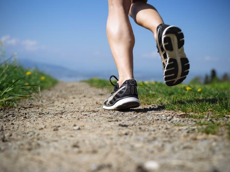 Nogi kobiety jogger w kraju obraz stock