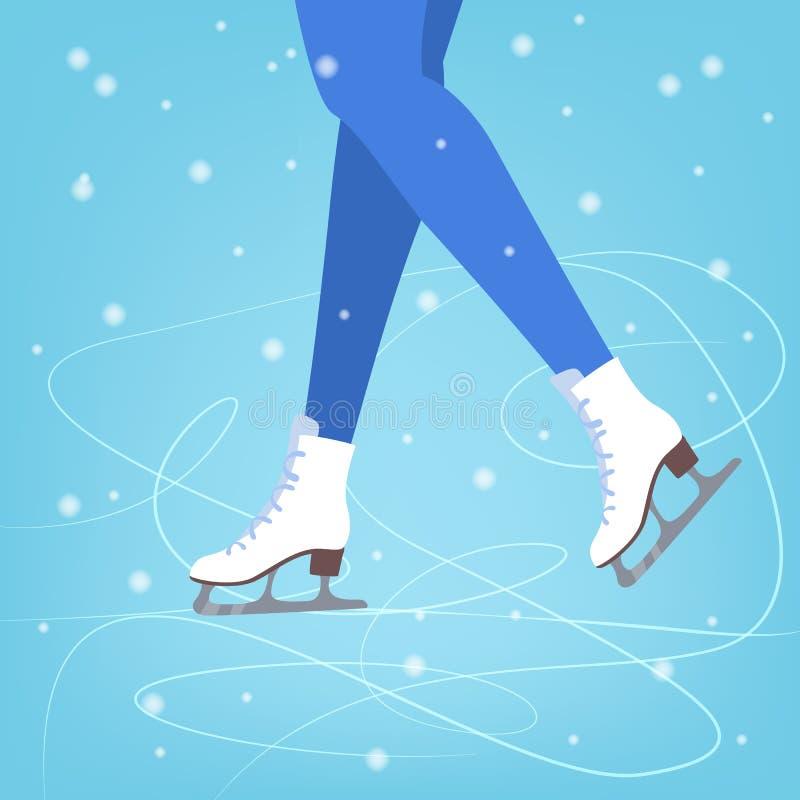 Nogi w łyżwach na błękitnym lodzie royalty ilustracja