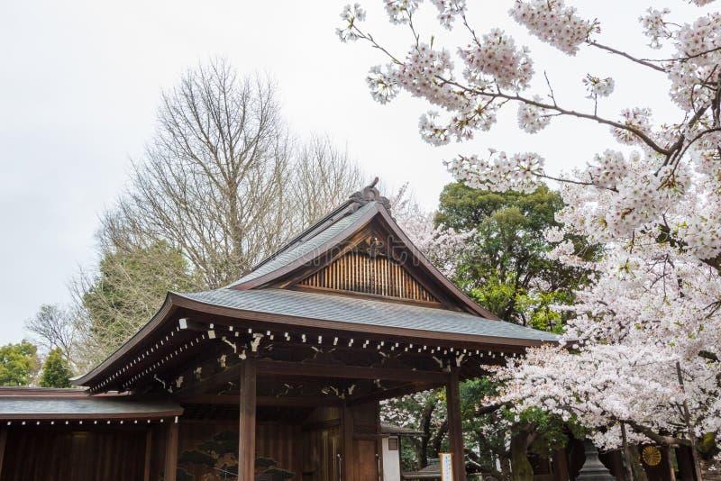 Nohgakudo和充分开花的樱花在靖国神社, chiyoda,东京,日本springApril的7,2017 库存照片