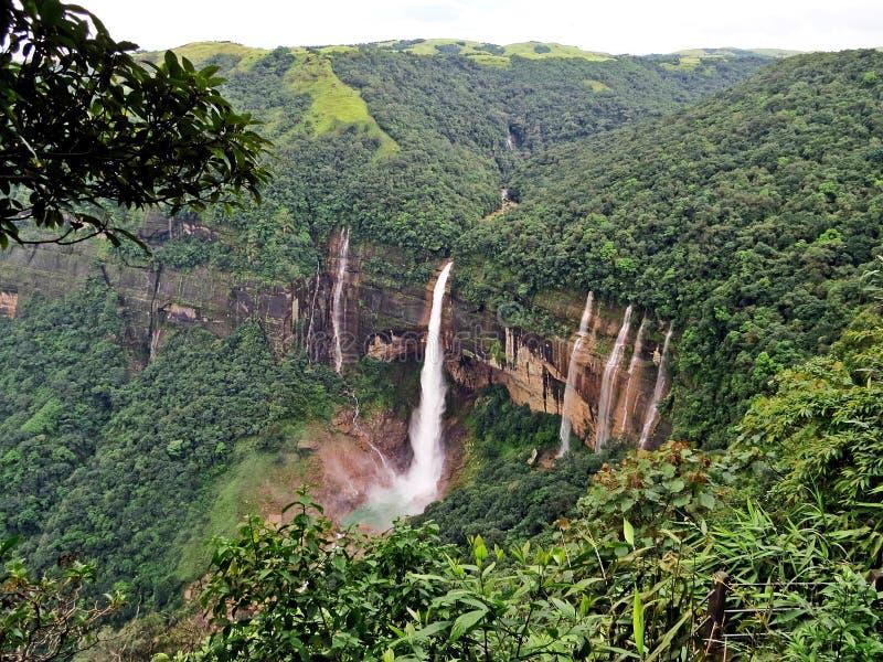 Nohkalikai Falls Cherrapunji, Meghalaya, India stock photos