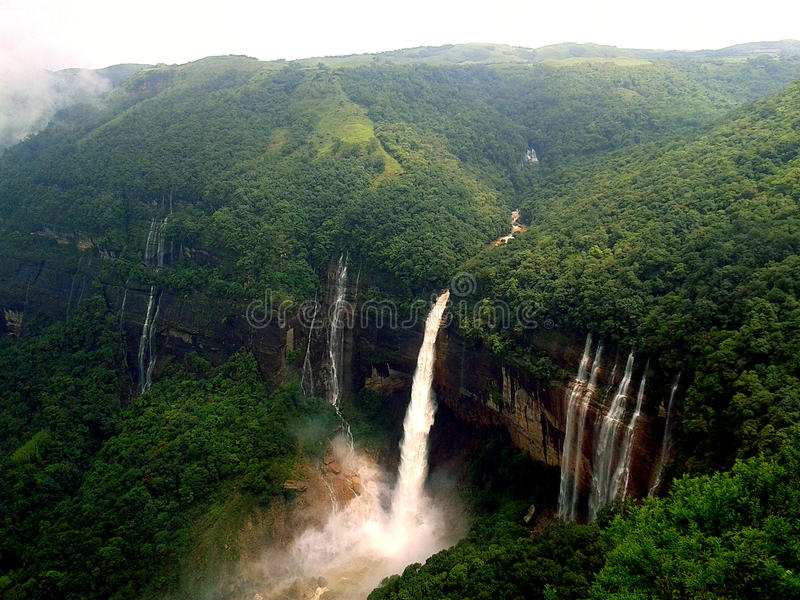 Nohkalikai waterfall Cherrapunjee Meghalaya royalty free stock photos