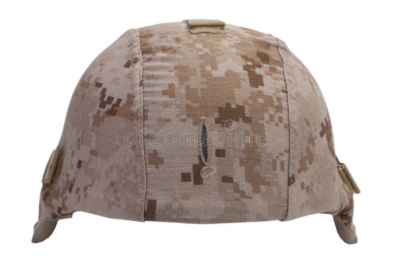 Noi casco del Kevlar dei marinai con la copertura del cammuffamento del deserto immagine stock