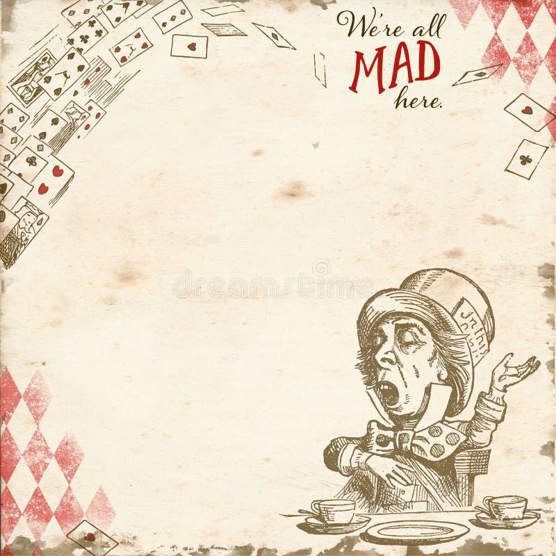 Noi ` con riferimento a tutta la qui - carta pazza di Collage Background Scrapbook del Cappellaio Matto del paese delle meravigli illustrazione vettoriale