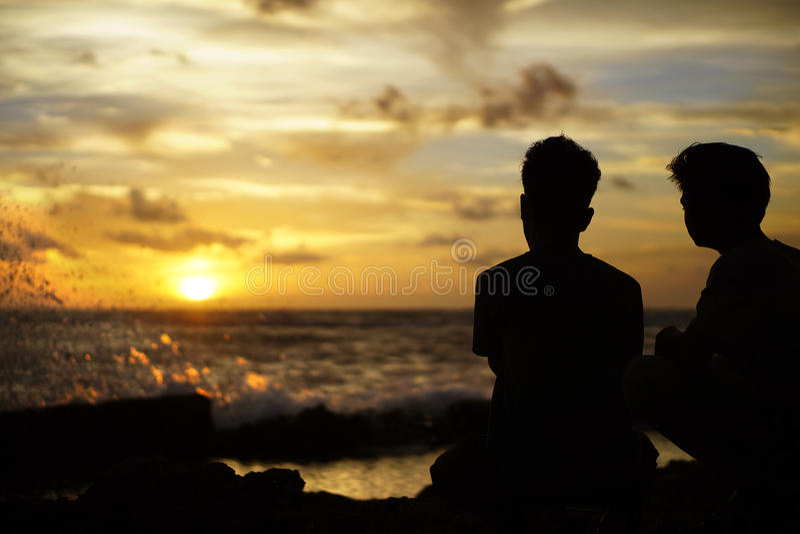 Noi e Sunsett fotografie stock libere da diritti