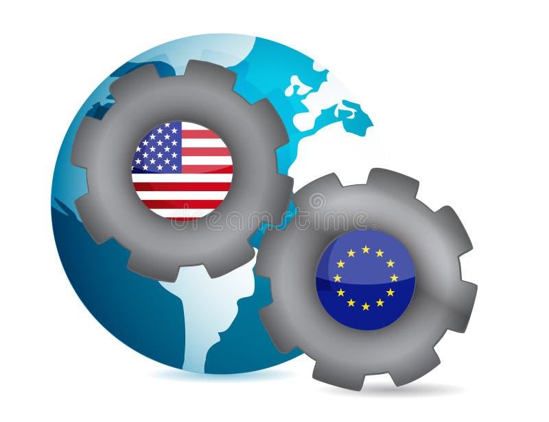 Noi ed unione europea che funzioniamo insieme royalty illustrazione gratis
