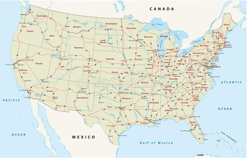 Noi mappa dell'autostrada interstatale royalty illustrazione gratis