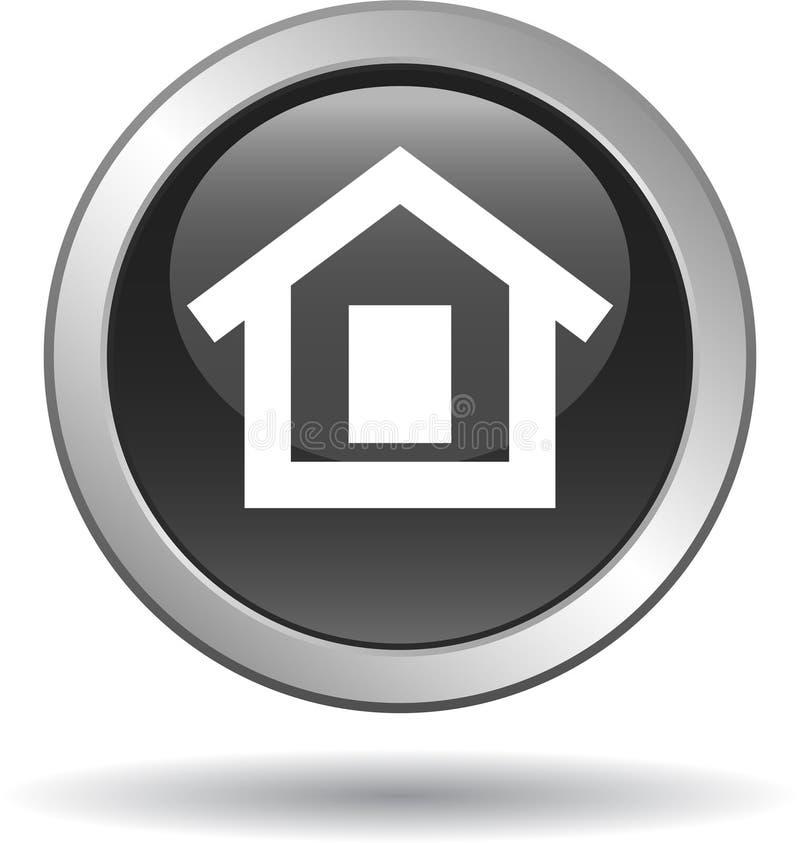 Noir à la maison d'icône de Web de bouton illustration de vecteur