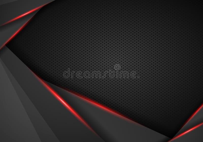 Noir abstrait avec le fond rouge de concept de technologie de conception de disposition de calibre de cadre - vecteur illustration de vecteur