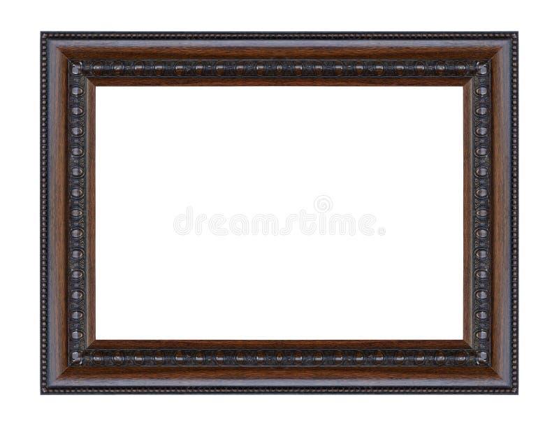 Noir antique support en bois découpé décoratif d'isolement vieux par cadre photos stock