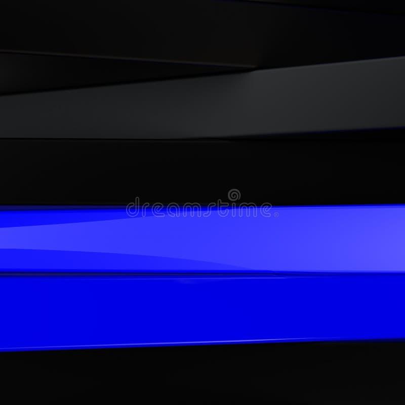 Noir, blanc abstraits et bleu lambrisse le fond 3D illustration stock
