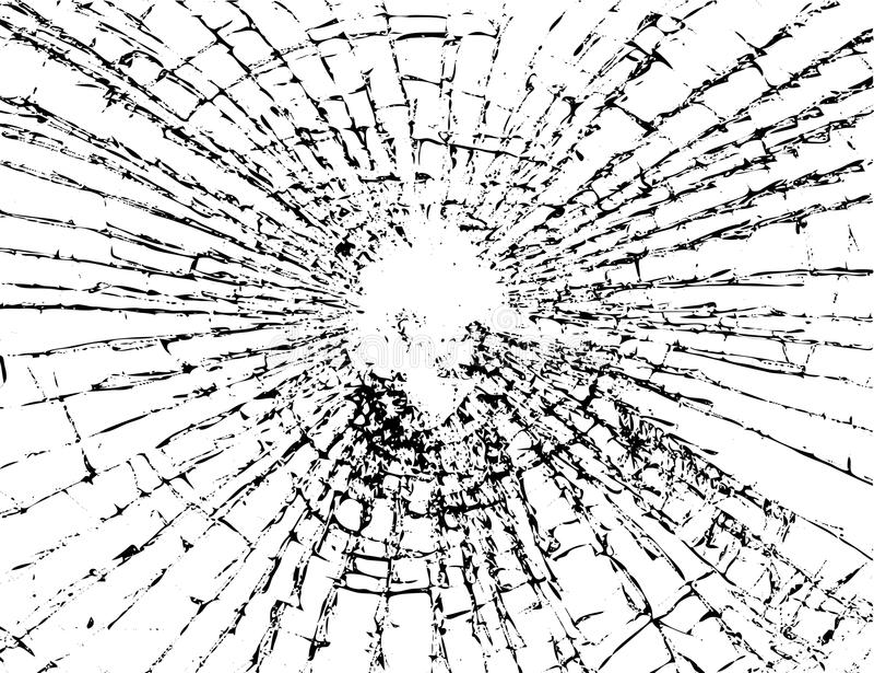 Noir blanc de texture grunge en verre cassée illustration stock