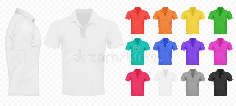Noir, blanc et d'autres T-shirts de base d'hommes de couleur réglés illustration de vecteur