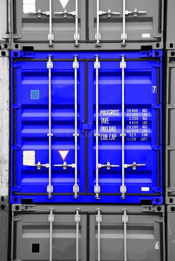 Noir bleu de conteneur/blanc photographie stock libre de droits