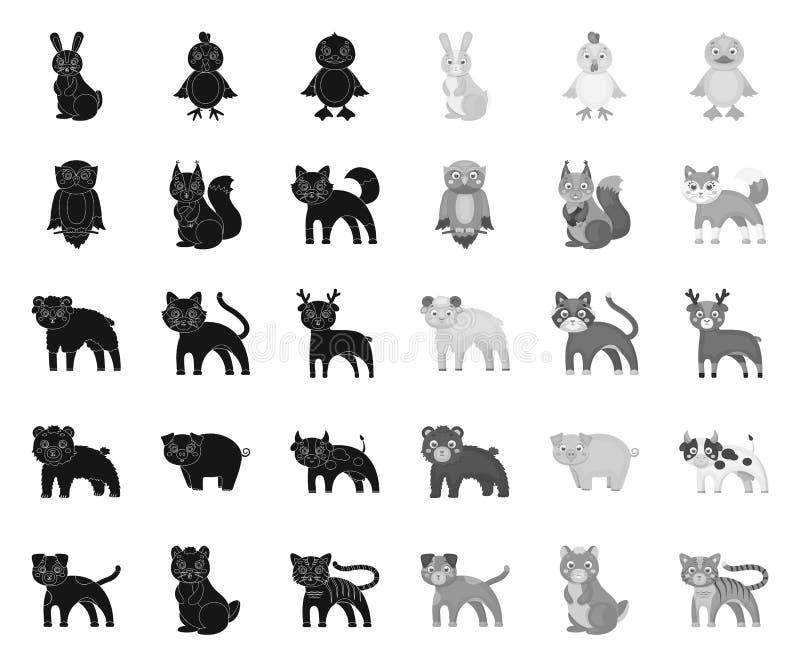 Noir d'animaux de jouet ic?nes mono dans la collection r?gl?e pour la conception L'oiseau, le pr?dateur et l'herbivore dirigent l illustration stock