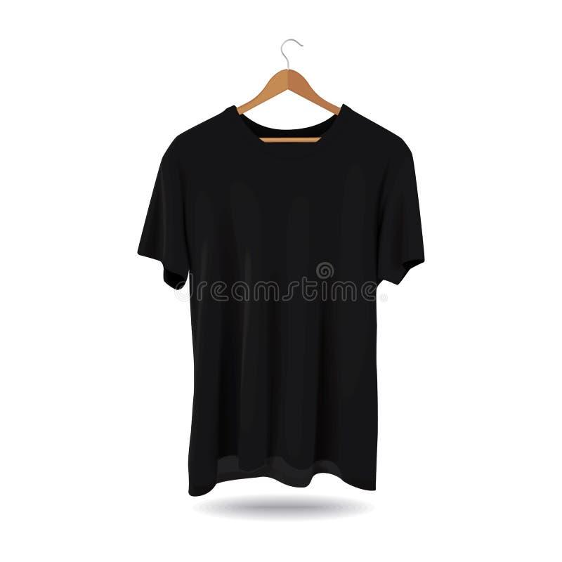Noir d'habillement occasionnel de mode de magasin de la publicité de calibre de sport de T-shirt de maquette illustration de vecteur
