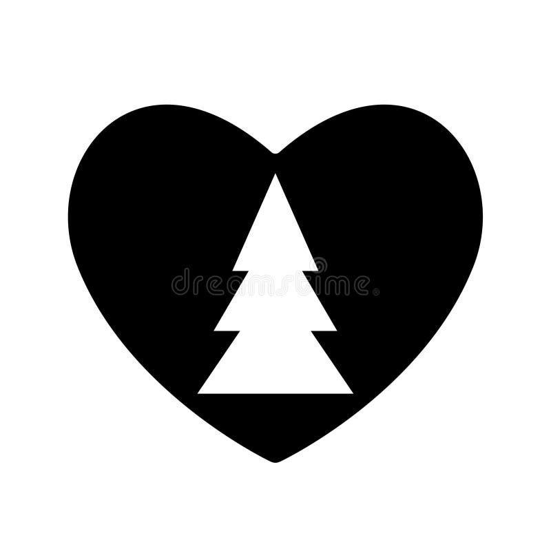 Noir d'icône d'arbre de Noël dans la valentine de coeur Amour de nouvelle année de symbole Conception simple plate de silhouette  illustration libre de droits