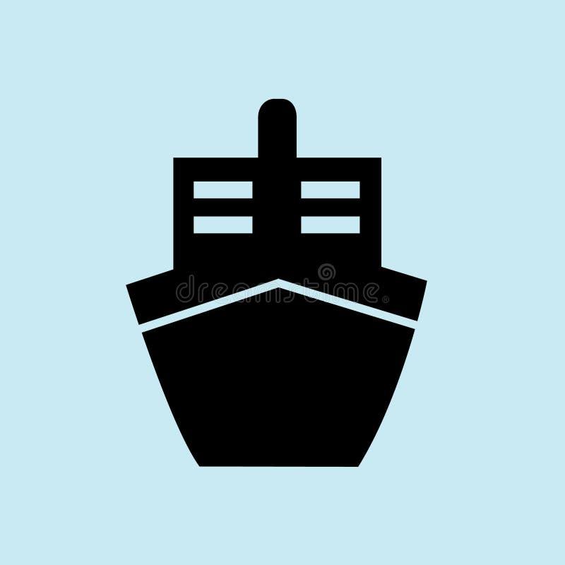 noir d'icône de bateau avec le fond bleu image stock