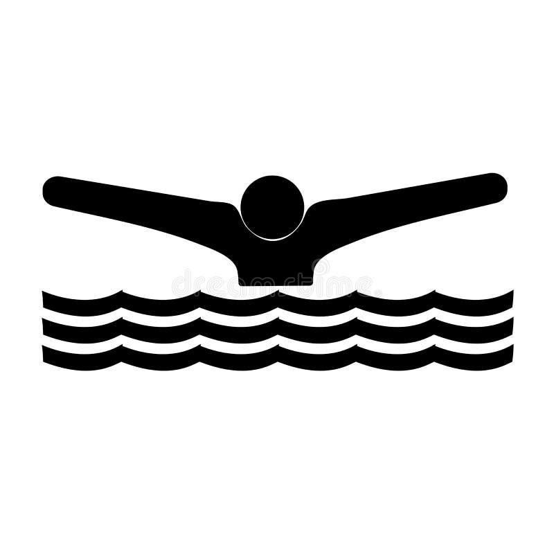 Noir d'icône de nageur sur un fond blanc illustration libre de droits