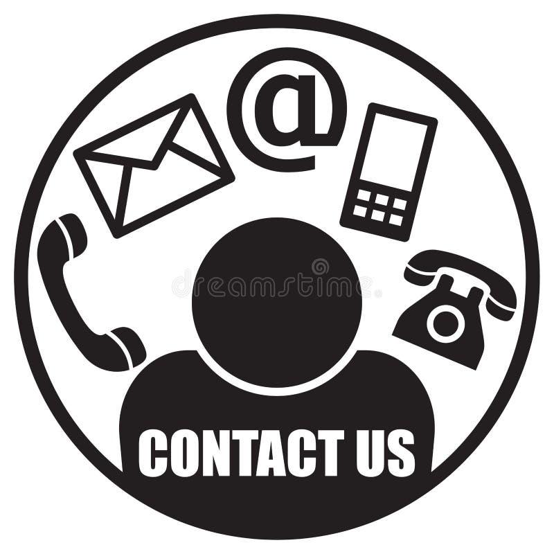 Noir d'icônes de courrier d'appel de contactez-nous illustration stock