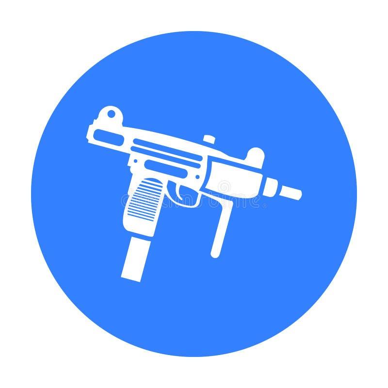 Noir d'icône d'arme d'UZI Icône simple d'arme des grandes munitions, bras réglés illustration libre de droits