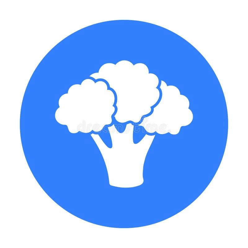 Noir d'icône de brocoli Brûlez légèrement l'icône de légumes du noir de nourriture d'eco illustration de vecteur