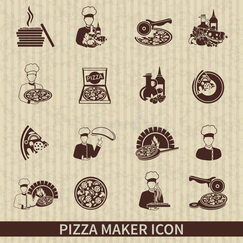 Noir d'icône de fabricant de pizza illustration libre de droits