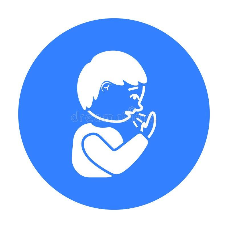 Noir d'icône de toux Choisissez l'icône en difficulté de la grande défectuosité, noir de la maladie illustration libre de droits
