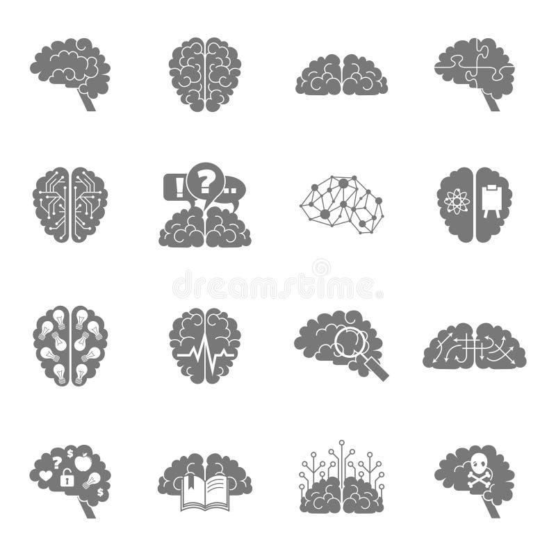 Noir d'icônes de cerveau illustration de vecteur
