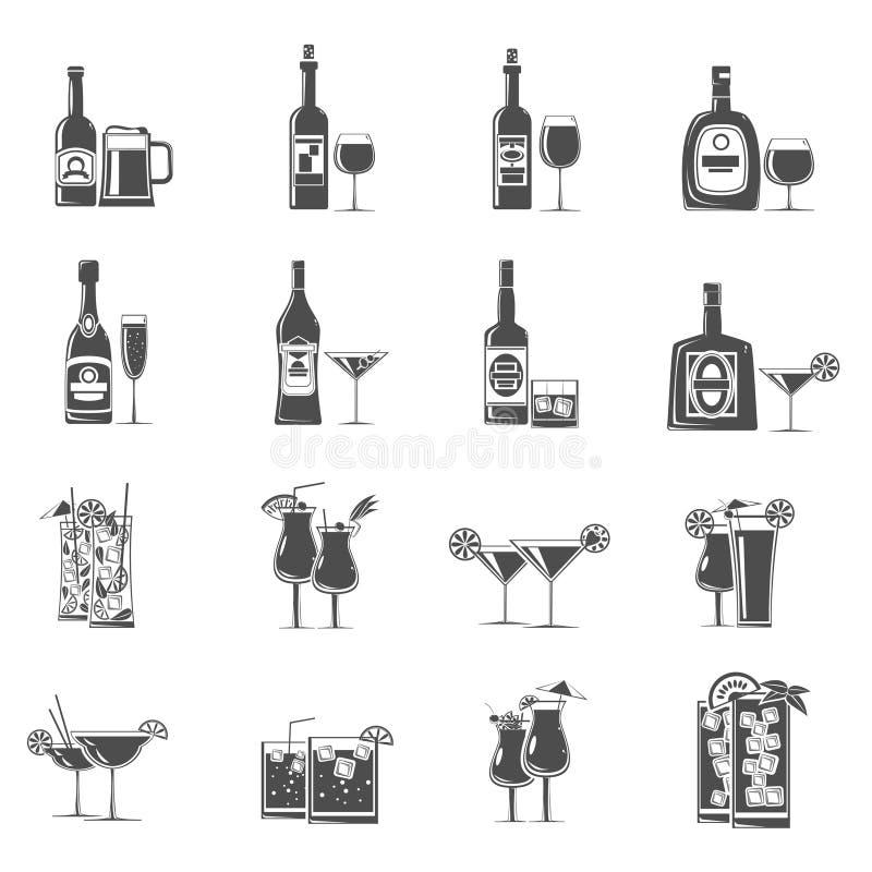 Noir d'icônes de cocktail illustration libre de droits