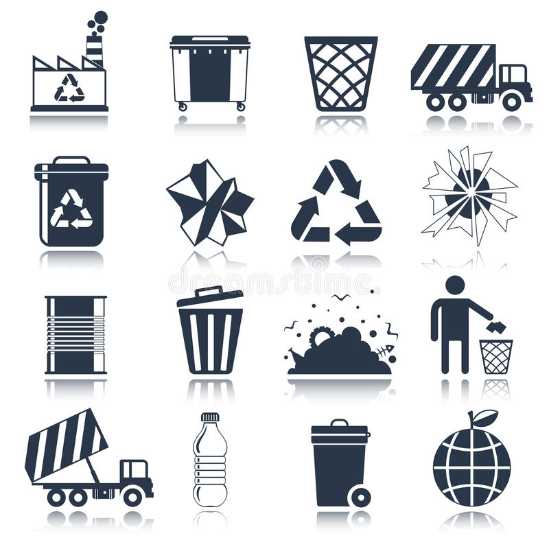 Noir d'icônes de déchets illustration stock