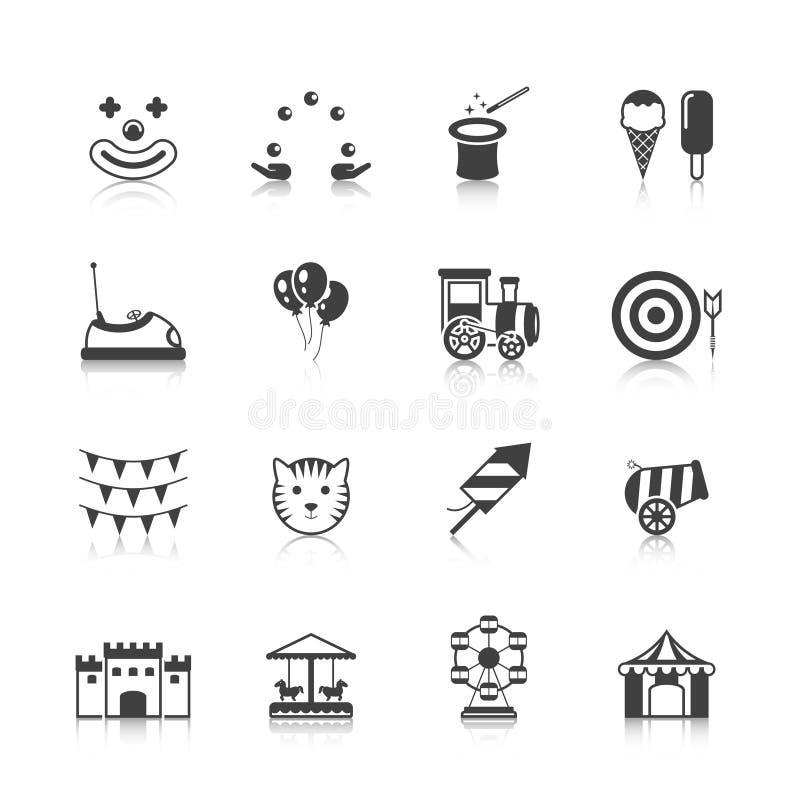 Noir d'icônes de parc d'attractions illustration libre de droits