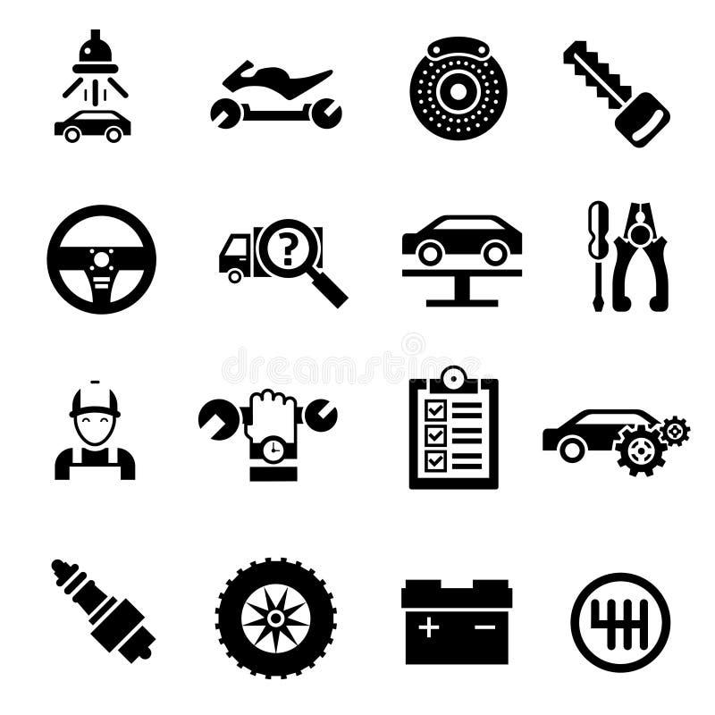 Noir d'icônes de réparation de voiture illustration libre de droits