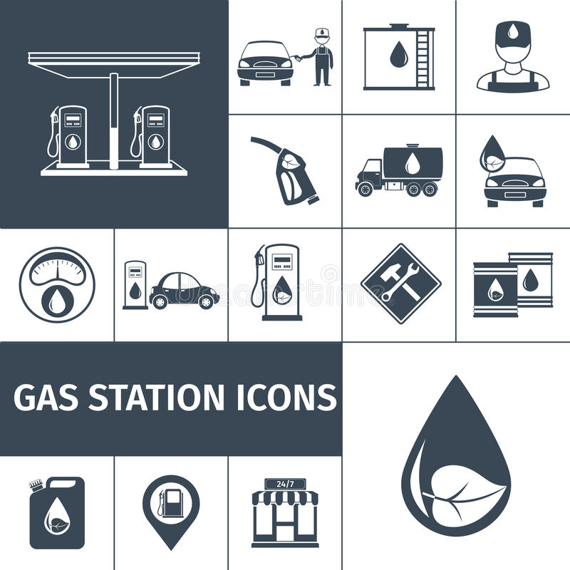 Noir d'icônes de station service illustration libre de droits