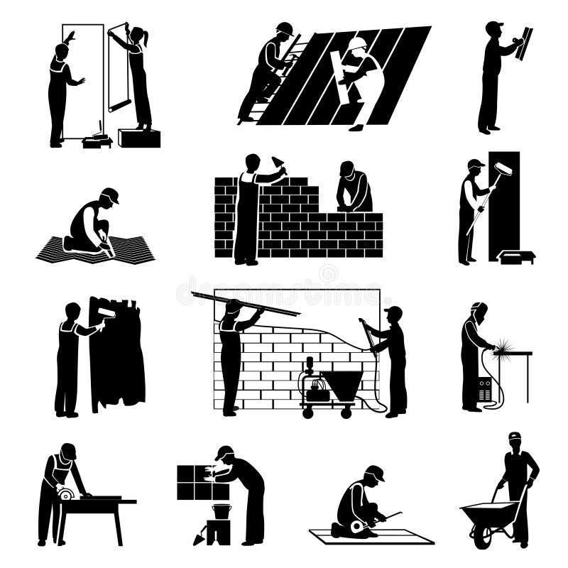 Noir d'icônes de travailleur illustration libre de droits