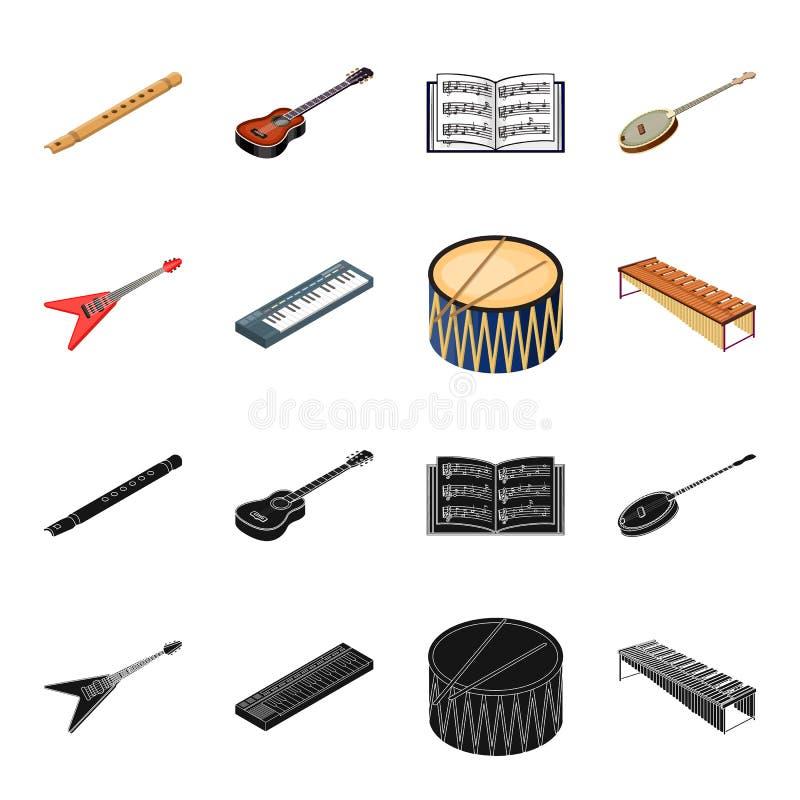 Noir d'instrument de musique, icônes de bande dessinée dans la collection d'ensemble pour la conception Symbole isométrique de ve illustration de vecteur