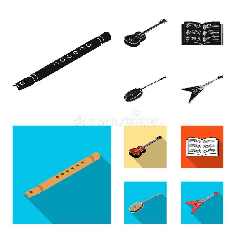 Noir d'instrument de musique, icônes plates dans la collection d'ensemble pour la conception Symbole isométrique de vecteur d'ins illustration stock