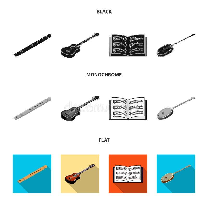 Noir d'instrument de musique, icônes plates et monochromes dans la collection d'ensemble pour la conception Instrument de ficelle illustration libre de droits