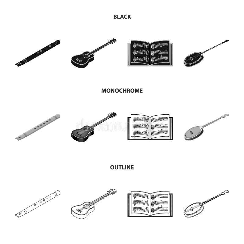 Noir d'instrument de musique, monochrome, icônes d'ensemble dans la collection d'ensemble pour la conception Instrument de ficell illustration de vecteur