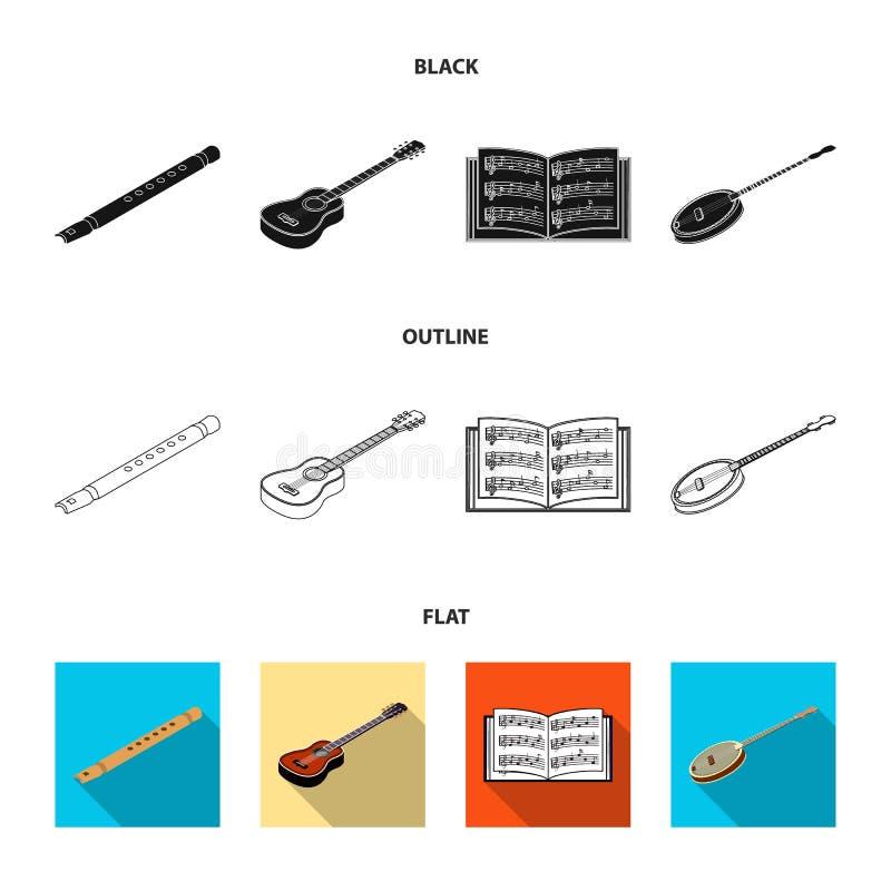 Noir d'instrument de musique, plat, icônes d'ensemble dans la collection d'ensemble pour la conception Vecteur isométrique d'inst illustration libre de droits