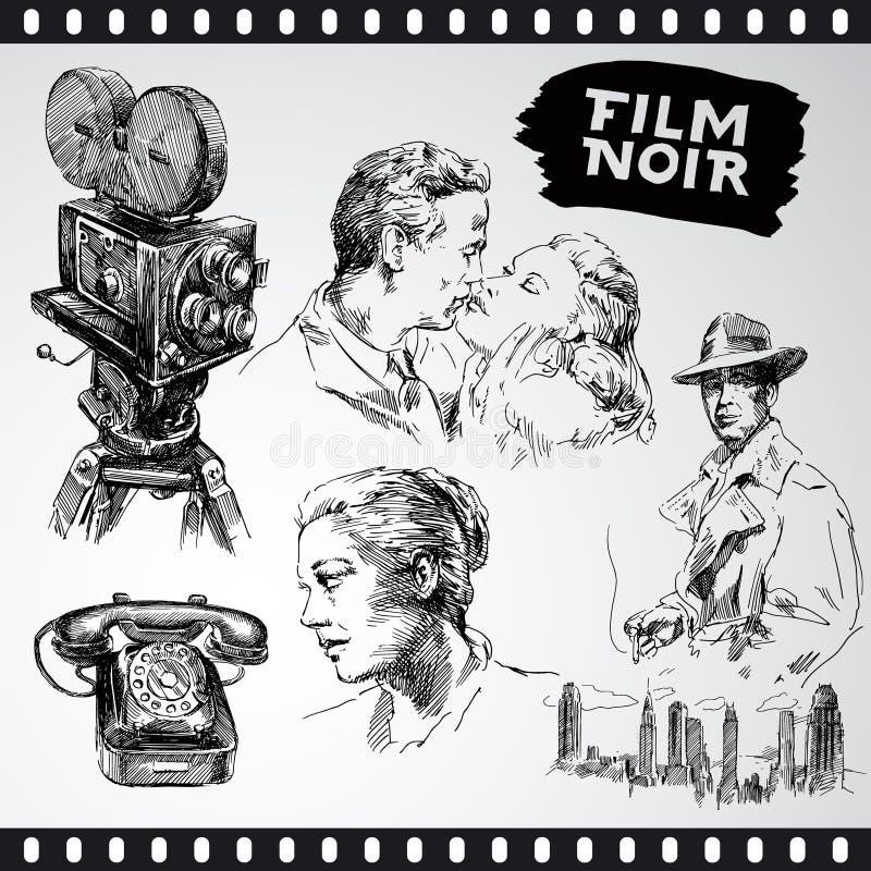 Noir da película - coleção do vintage ilustração royalty free
