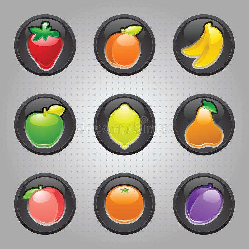 Noir de bouton de fruits, Web 2.0 graphismes illustration stock