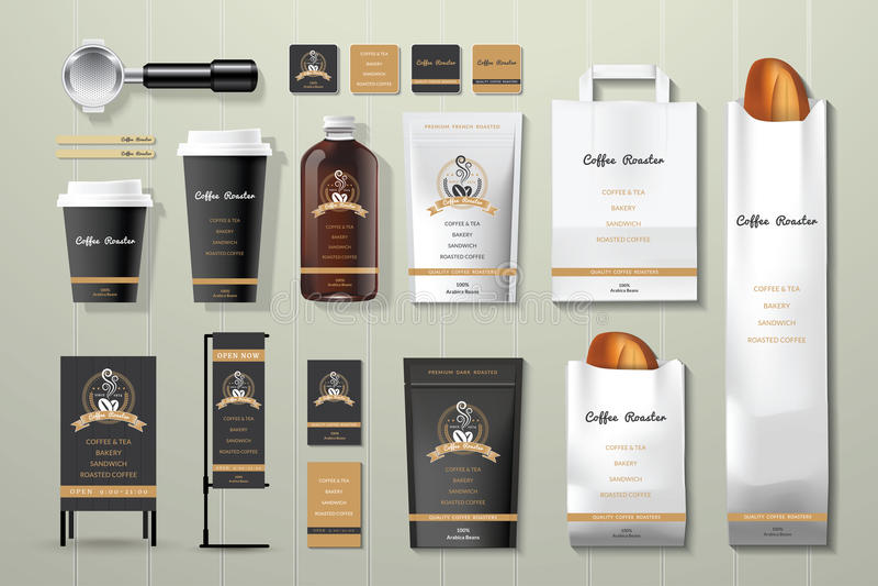 Noir de brûleur de café et ensemble de conception de calibre d'identité d'entreprise d'or illustration de vecteur