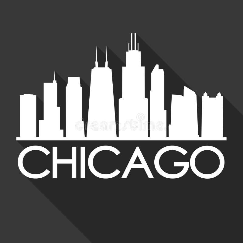 Noir de calibre de silhouette de ville d'Art Flat Shadow Design Skyline de vecteur d'icône de Chicago l'Illinois Etats-Unis d'Amé illustration stock