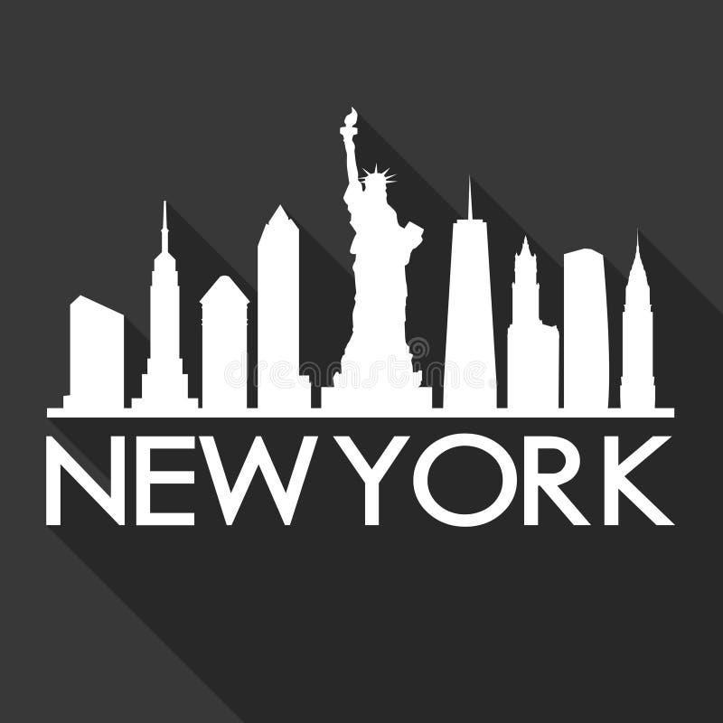 Noir de calibre de silhouette de ville d'Art Flat Shadow Design Skyline de vecteur d'icône de New York Etats-Unis d'Amérique Etat illustration de vecteur