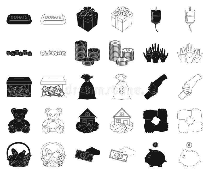 Noir de charité et de donation, icônes d'ensemble dans la collection réglée pour la conception Illustration de Web d'actions de s illustration stock