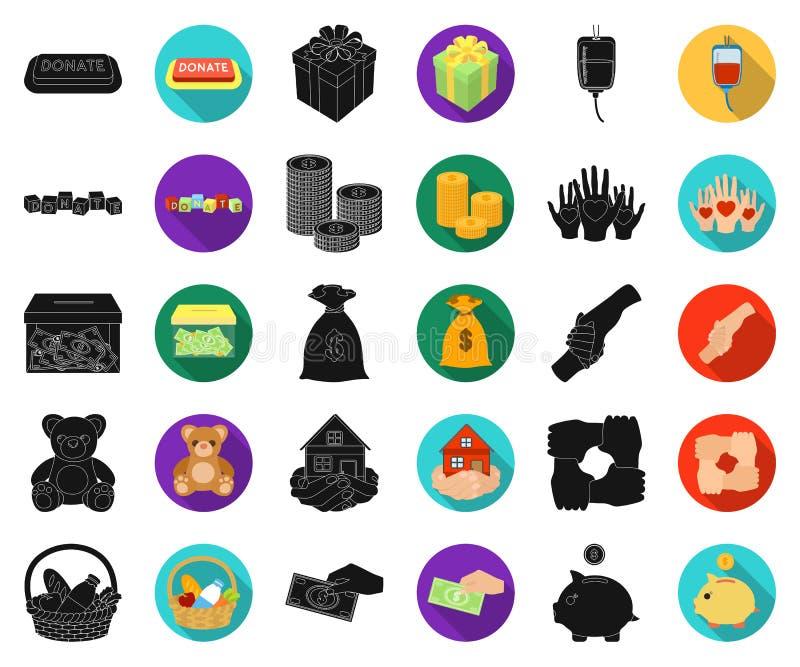 Noir de charité et de donation, icônes plates dans la collection réglée pour la conception Illustration de Web d'actions de symbo illustration de vecteur
